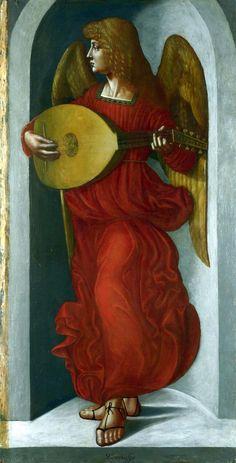 Leonardo da Vinci Angelo in rosso con un liuto