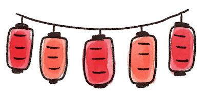 赤い提灯のイラスト(お祭り)