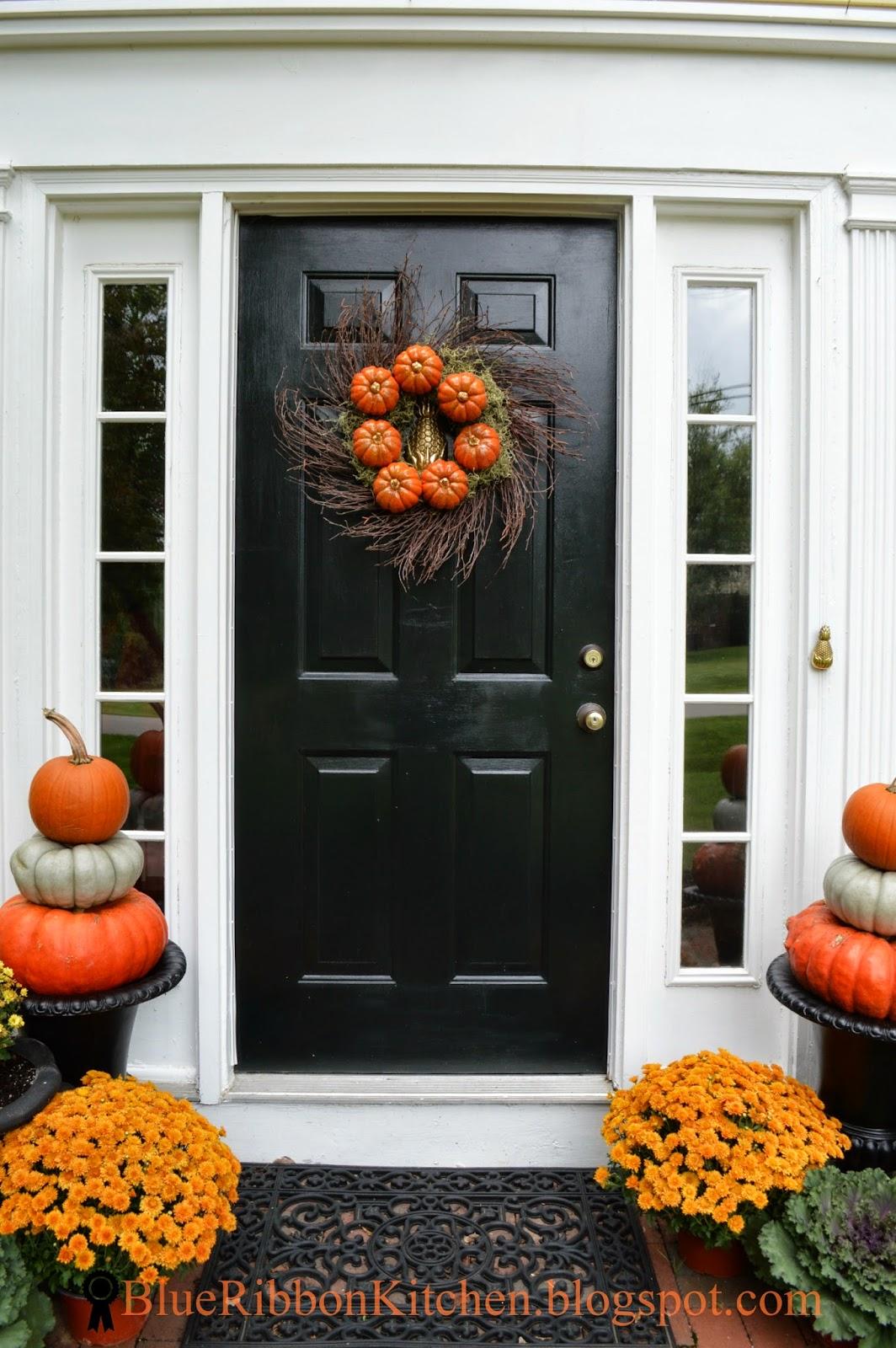 blue ribbon kitchen  four autumn wreaths  u0026 only one front door