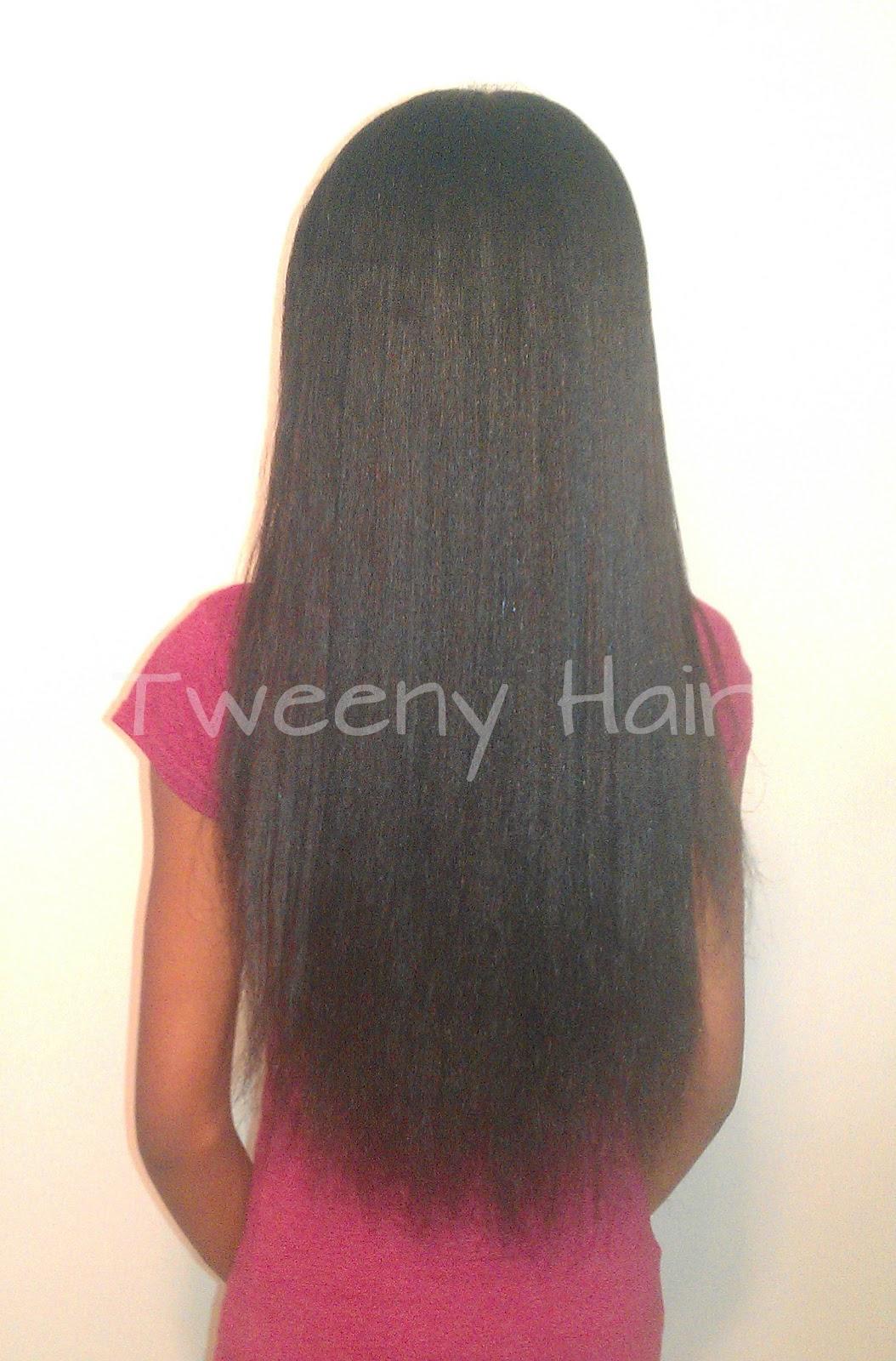 waist length natural straightened hair waist length ...