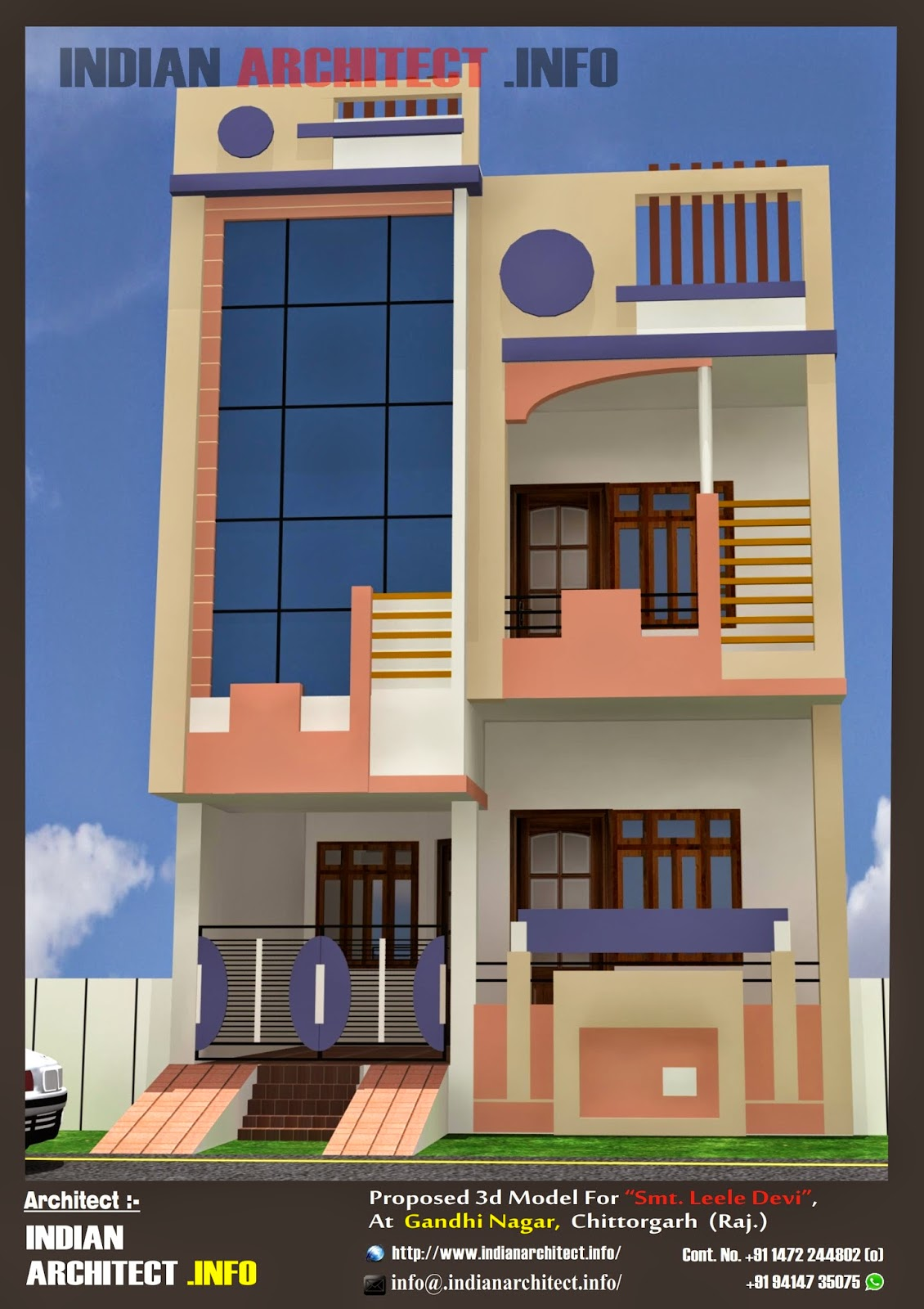 20 Feet Home Front Elevation : Smt leela devi house  sqft floor plan and
