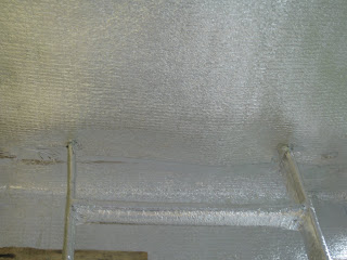 Пароизоляция пенофолом. Утепление пожарной лестницы.