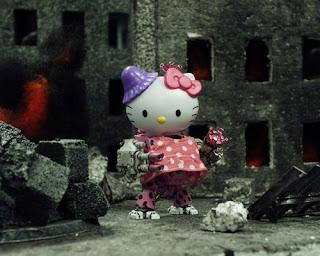 Hello Kitty Warhammer 40k pink polka dot dreadnought in a dress