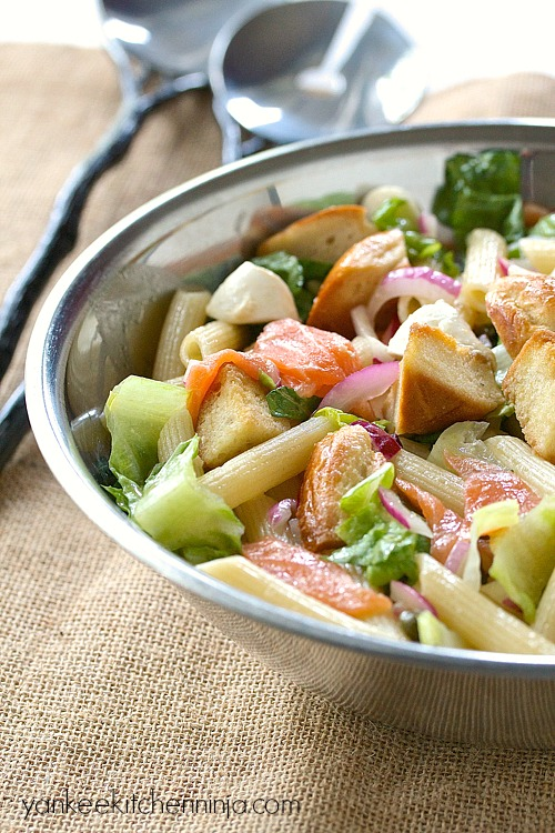Bagels and lox pasta salad
