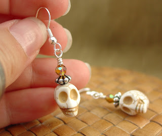 Skull and Crystal Earrings made by Vicky of Shore Debris