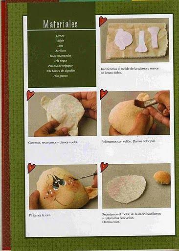 Boneco de tecido para decorar porta-retrato