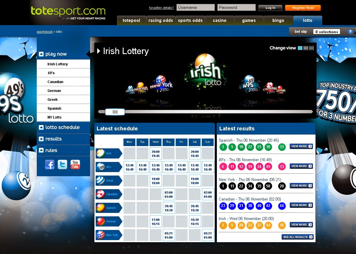 Totesport Lottery Screen