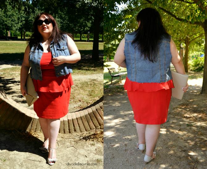 outfit plus size con abito rosso con baschina