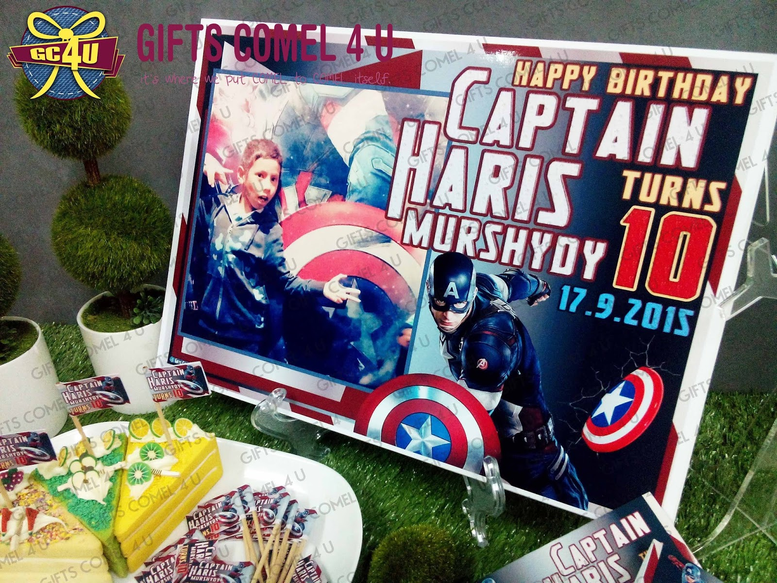 gifts comel 4 u ordered by roziana paiman captain america theme birthday set. Black Bedroom Furniture Sets. Home Design Ideas