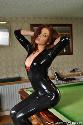 Gracie Posing in Tight Black Latex Catsuit
