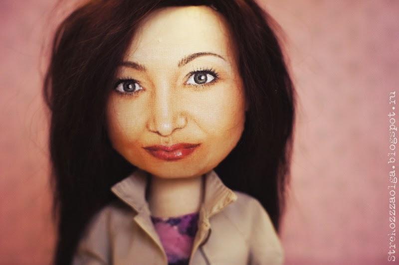 Как сделать волосы для портретная кукла 43