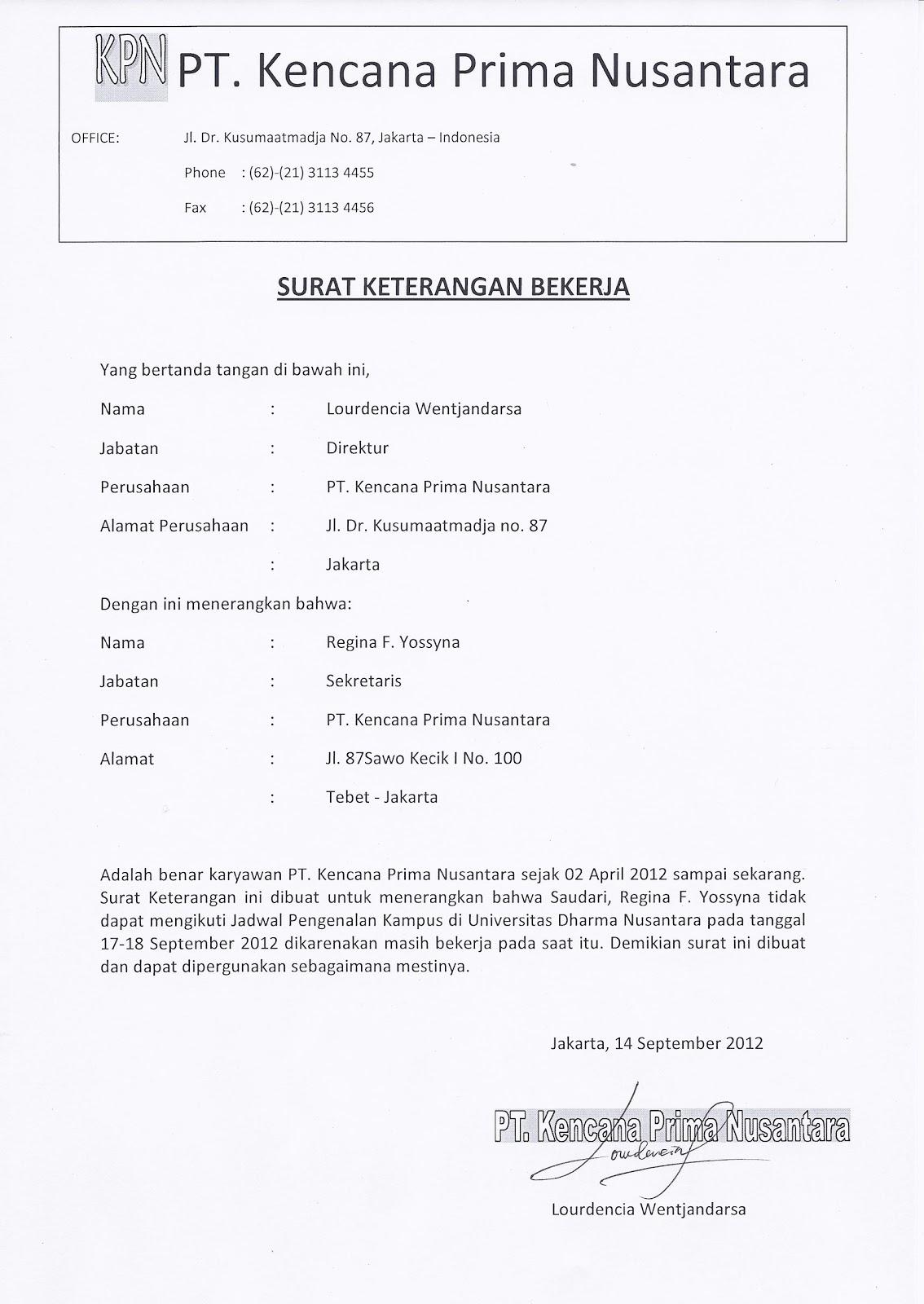 Catatan Iseng Surat Keterangan Bekerja Untuk Kampus