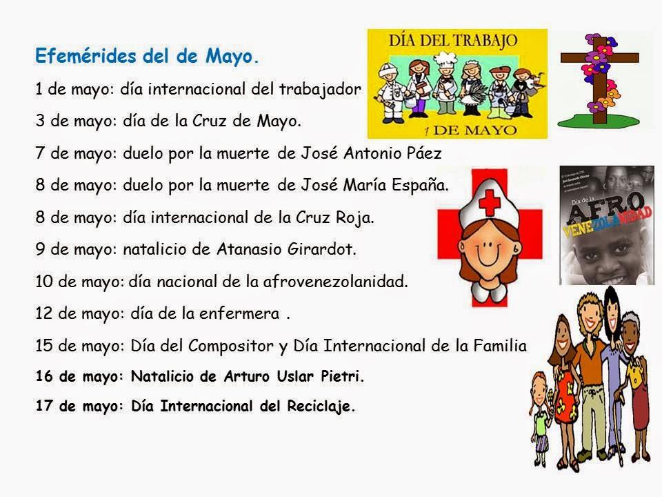 Maestra Asuncin Efemrides del mes de mayo