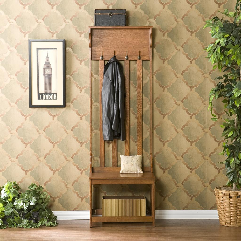 Brown Lacquered Mahogany Wood Entryway Bench With Bottom Shelf