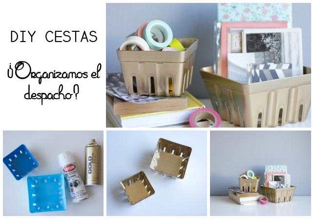 manualidades cestas almacenaje color oro