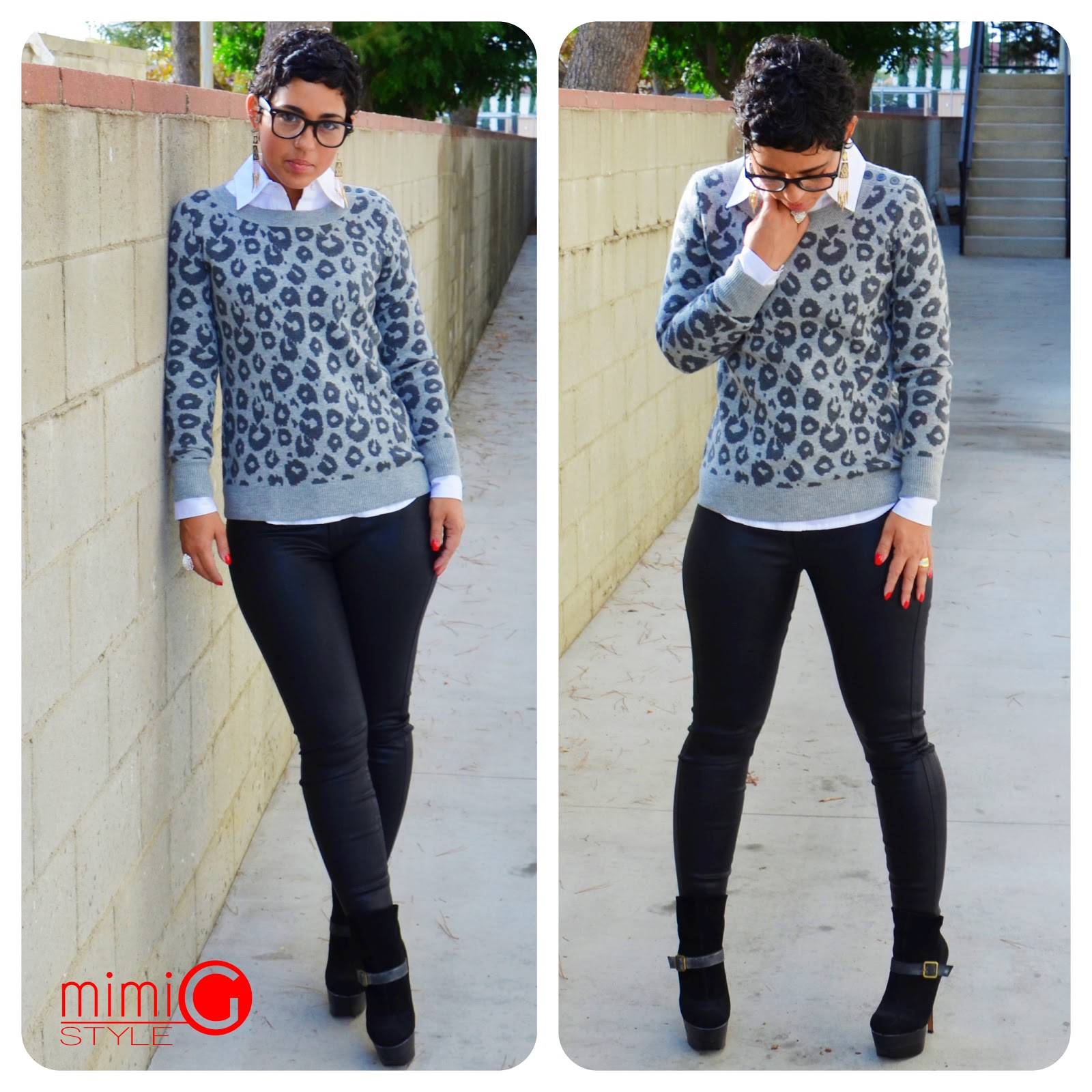 Ootd coated jeans leopard sweater fashion lifestyle and diy