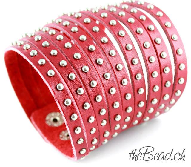 Echtleder Armband mit silbernen Nieten in Rot