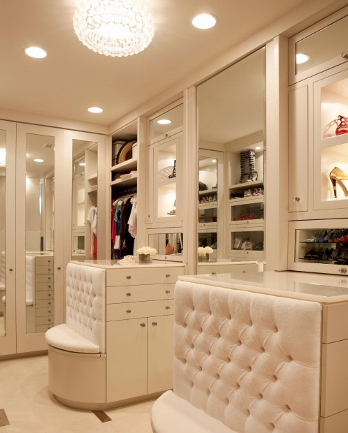 closet vanity space and bathroom  I  39 m talking mirrored cabinetry  upholstered built in seats  and chandeliers that would make Lisa Vanderpump blush. The Peak of Tres Chic  Glam It Up
