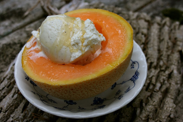 Melon with Honey Drizzled Vanilla Ice Cream: Simple Living and Eating
