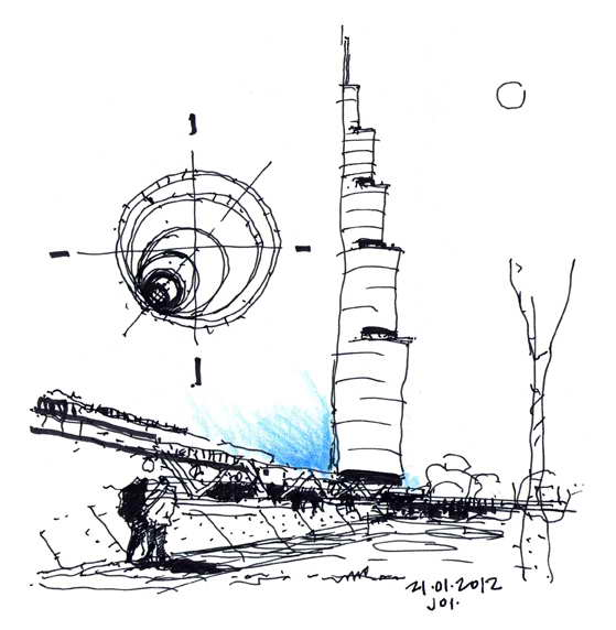 Dibujos de arquitecto architect drawings 120121 tower - Trabajo arquitecto barcelona ...