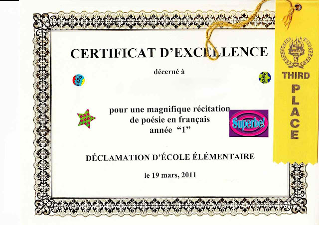 Certificate Templates for Kids in French
