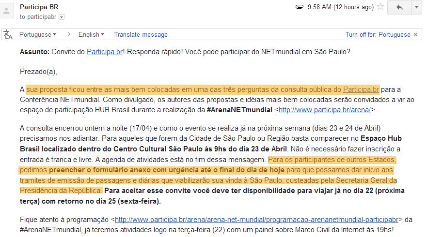 Convite para participar do NETmundial em São Paulo