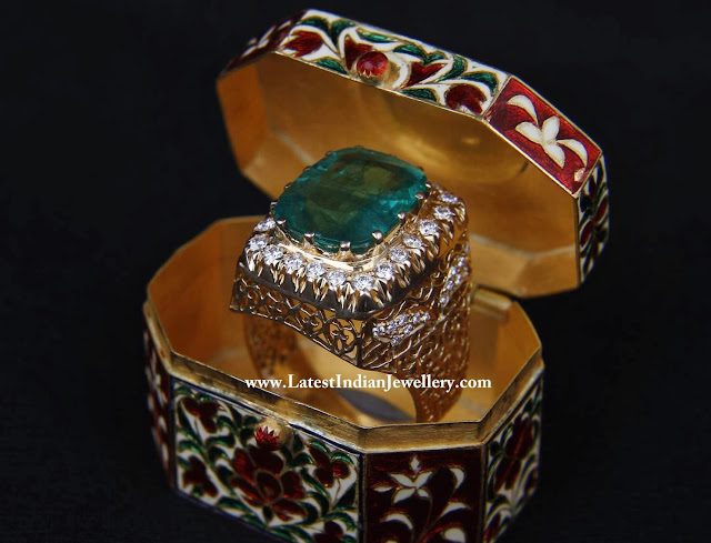 Designer Diamond Emerald Ring