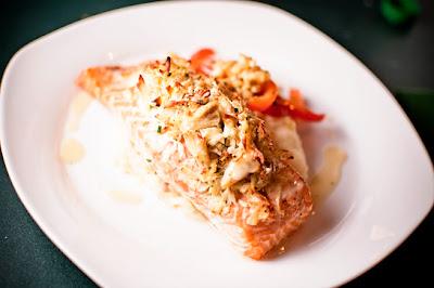 Crab-Stuffed Salmon w/ Corn Red Pepper Relish, Garlic Mashed Potatoes, & Lemon-Thyme Beurre Blanc