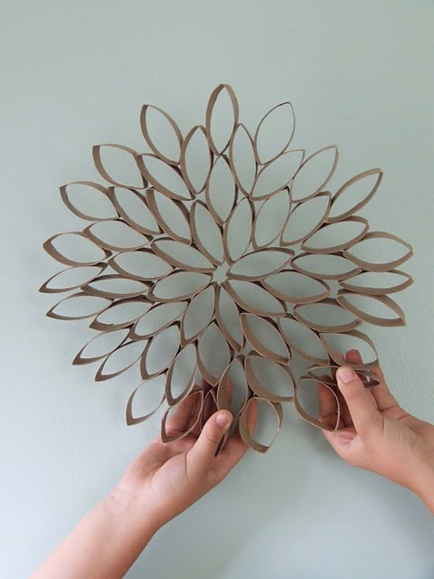 Diy Paper Flowers Wall Art : The lace pillow diy paper towel roll flower wall art deco
