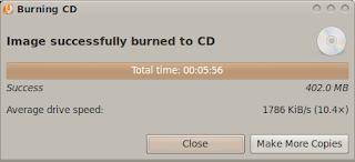 Proses membakar CD selesai