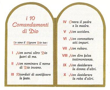 Il viandante cattolico i dieci comandamenti - Tavole dei dieci comandamenti ...