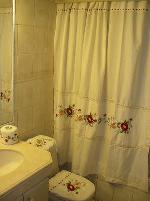 Creativarte bordados cortina y juego de ba o for Cortinas y accesorios para banos