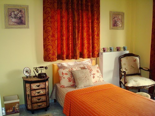 modern retro bedroom design ideas with orange bed