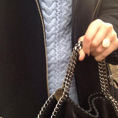 monica vinader, monica vinader ring, monica vinader jewellery, stella mccaratney, close up, blue jumper, baby blue jumper, zara baby blue jumper, zara, sandro, sandro coat