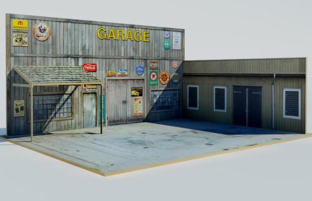 Papermau the garage diorama paper model tutorial with for Garage building software free download