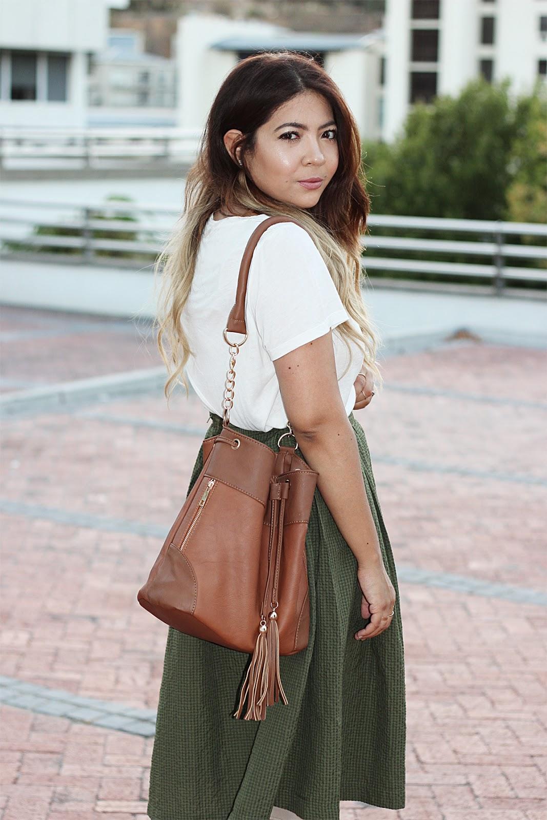 olive green midi skirt, mr price midi skirt, topshop t shirt, bucket bag, fashion blogger cape town, nude strappy heels