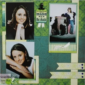 Green Yellow and Blue Double Page Scrapbook Layout 3