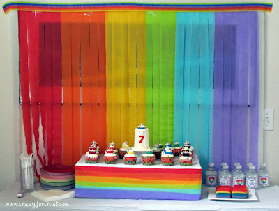cake table for rainbow party