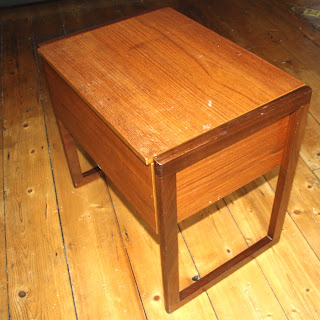 vintage wooden sewing box table