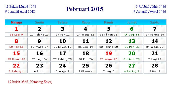 Kalender Februari 2015