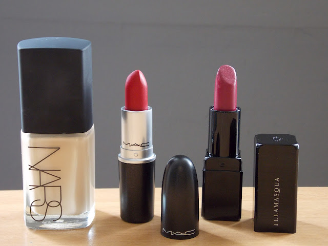 Nars Sheer Glow Foundation, MAC Lipstick in Ruby Woo, Illamasqua Lipstick in Magnetism