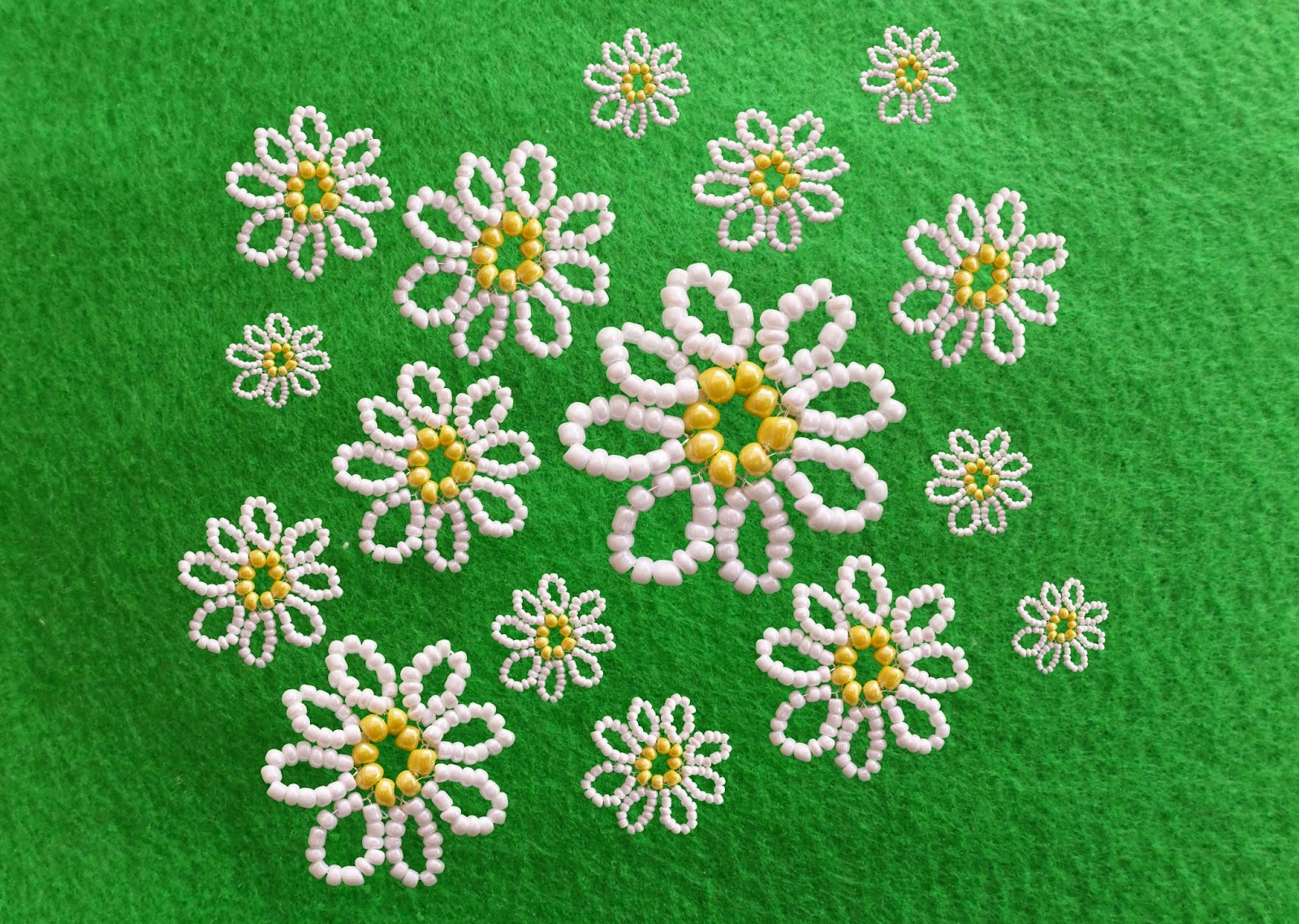 daisy motif with beads