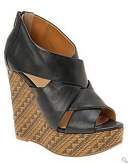 Black & Tan Wedge Sandal