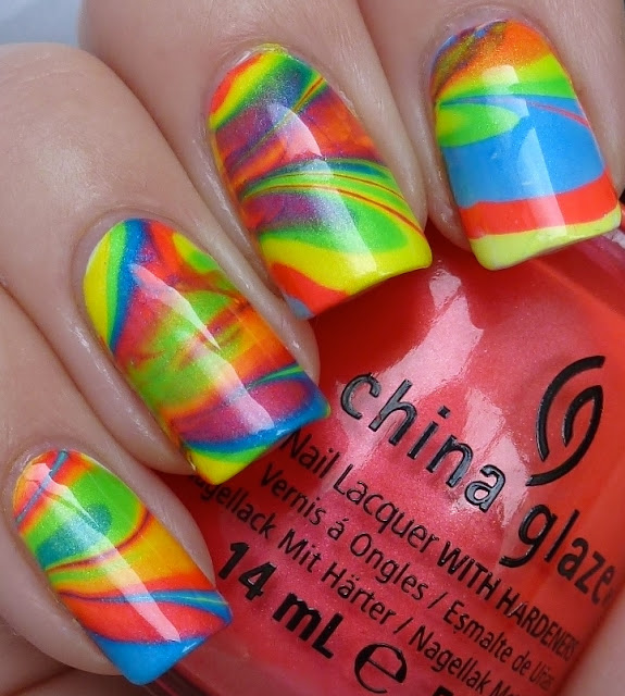 Water Marbling nails, China Glaze Summer Neons - Splish Splash, I'm With The Lifeguard, Surfin'For Boys, Sun-Kissed