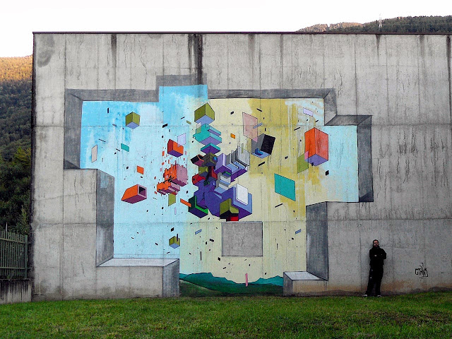 Abstract Street Art By Italian Artist Etnik In Tirano, Italy.