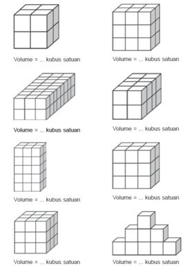 Hitunglah volume balok dengan kubus satuan