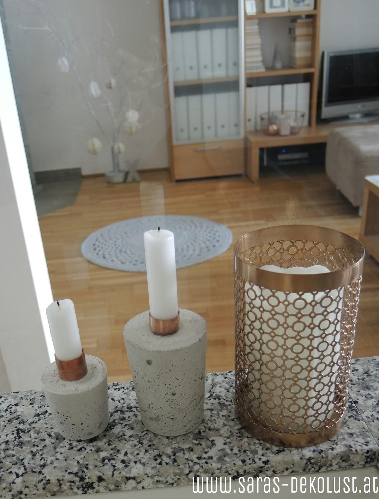 saras dekolust diy kerzenhalter aus beton und kupfer. Black Bedroom Furniture Sets. Home Design Ideas