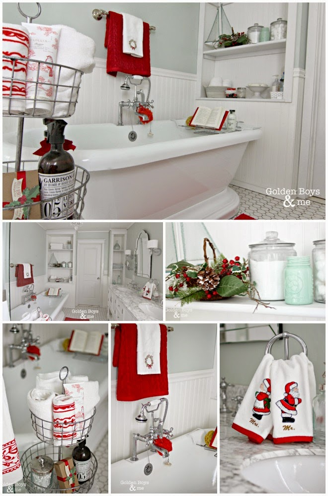 DIY master bathroom with pedestal tub with Christmas decor-www.goldenboysandme.com