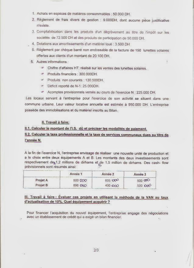 concours d u0026 39 acc u00e8s au master   finance comptabilit u00e9  u0026 management fsjes kenitra 2012