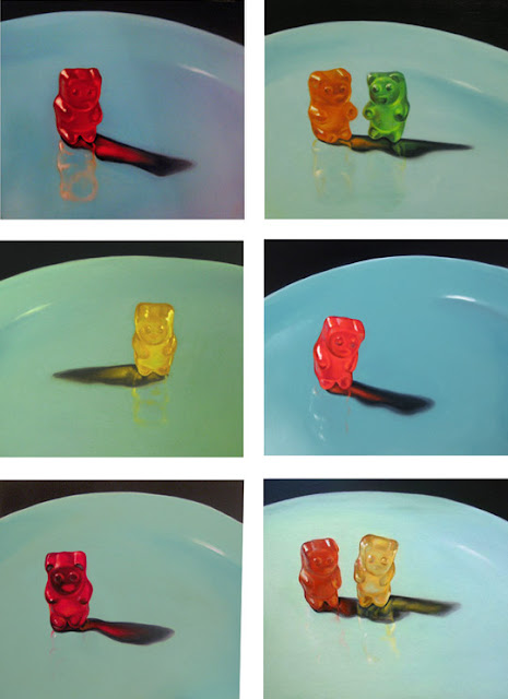 gummy bear painting, original still life by Jeanne Vadeboncoeur